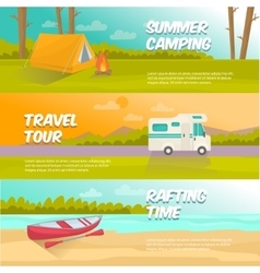 Summer Camping Horizontal Banners Set vector image