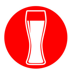 beer glass sign white icon in red circle vector image vector image