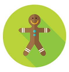 Flat Design Gingerbread Man Circle Icon vector image vector image