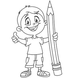 Outlined boy holding big pencil vector