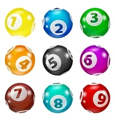 Set of Lottery Colored Number Balls vector image