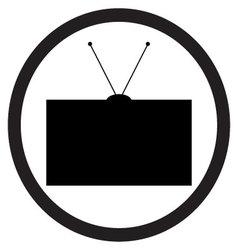Tv icon black white vector image