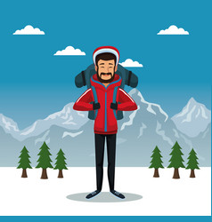 winter mountain landscape poster with scaler man vector image