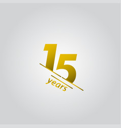 15 years anniversary celebration gold line vector
