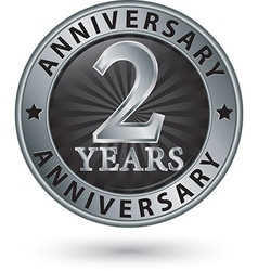 2 years anniversary silver label vector
