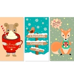 3 New Year Christmas banner with lovely animals vector