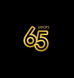 65 years anniversary elegant gold celebration vector