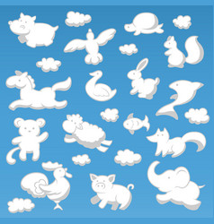 Animals cloud cartoon kids style silhouette white vector