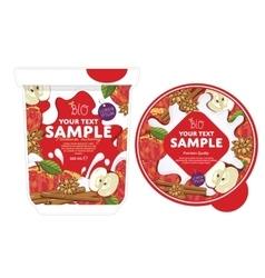 Apple cinnamon yogurt packaging design template vector