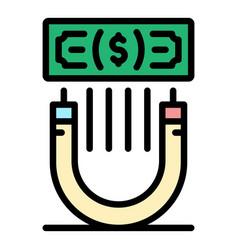 Attract money icon color outline vector