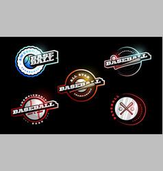 baseball logo set modern professional typography vector image