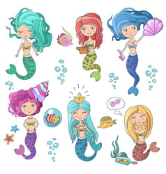 beautiful cute sirens mermaids set with sea vector image
