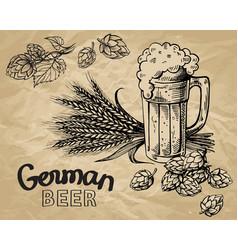 Beer hops mug ears vector