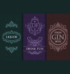 beverage packaging design set of booze bottles vector image