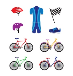 Bicycles and sports equipment for cycling vector