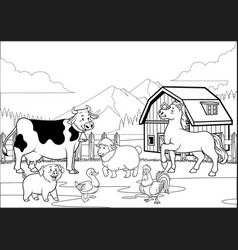 black and white coloring page happy farm animals vector image
