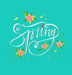 bright spring card on blue background with spring vector image