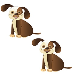 brown dog sitting with and whitout lines vector image