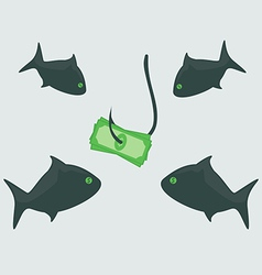 Business shark with money vector image