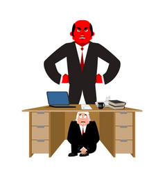 businessman scared under table of angry boss vector image
