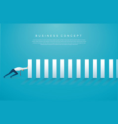 Businessman stopping domino effect vector