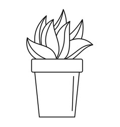 cactus plant pot icon outline style vector image