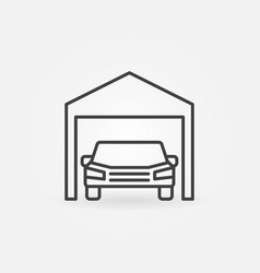 car garage icon - symbol in thin line style vector image