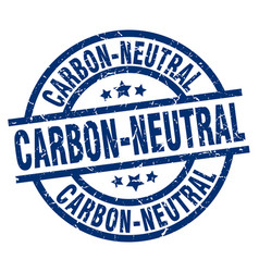 Carbon-neutral blue round grunge stamp vector