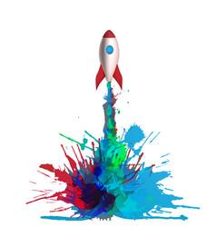 Cartoon rocket with flames vector