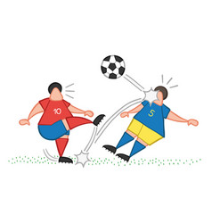 Cartoon soccer player man kicking ball and vector