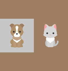 cat and dog icon flat design pet shop concept vector image