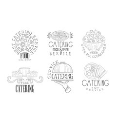 catering food and drink service hand drawn retro vector image