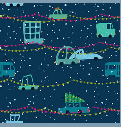 christmas seamless pattern city holiday traffic vector image