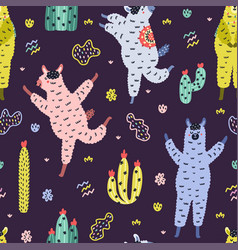 Colorful seamless pattern with funny llamas vector