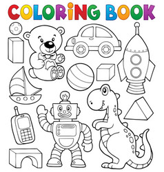 Coloring book with toys thematics 2 vector