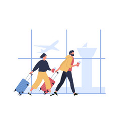 couple hurrying to boarding flight run with vector image