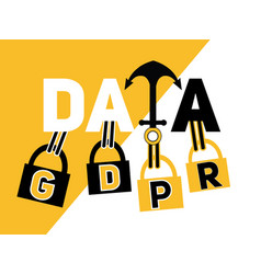 creative word concept data and gdpr vector image