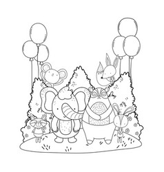 cute animals with balloons helium in the landscape vector image