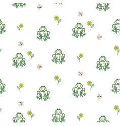Cute frogs baby seamless pattern vector