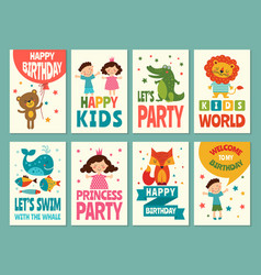 design template of cards for childrens labels for vector image