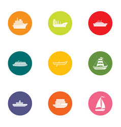 Dinghy icons set flat style vector
