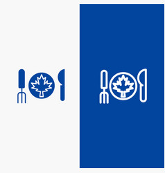 Dinner autumn canada leaf line and glyph solid vector