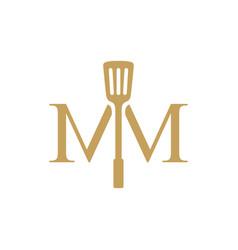 Double mm letter spatula kitchen restaurant food vector