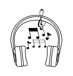 Earphones audio device with music notes vector