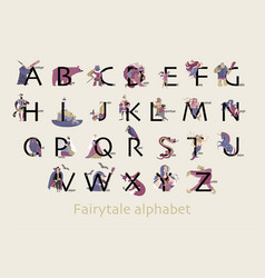Fairytale alphabet funny characters and animals vector