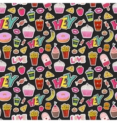 Fashion seamless pattern with patches cartoon vector