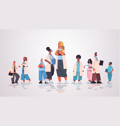 female doctor leader standing in front mix race vector image