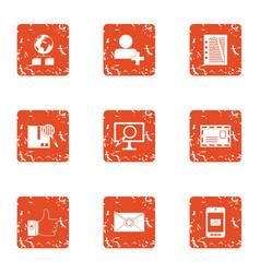 global storage icons set grunge style vector image