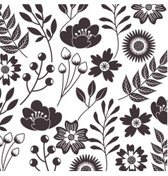 gray flowers petal branch leaves seamless pattern vector image