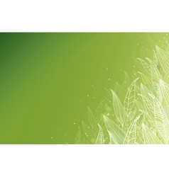 Green glowing leaves horizontal background vector image